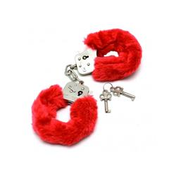 Police cuffs with soft red fur