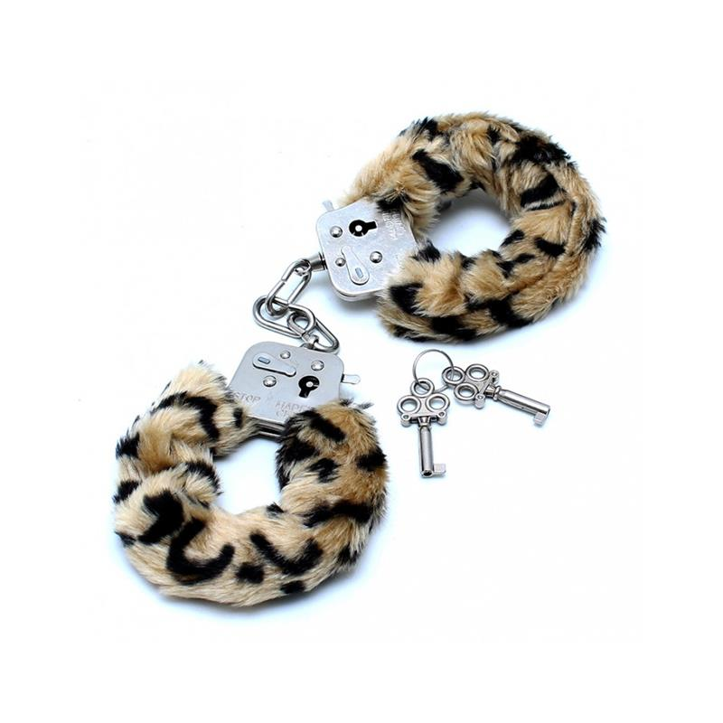 Police Cuffs with Soft Leopard Fur