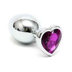 Butt plug with pink heart shape cristal