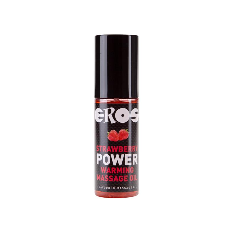 Aceite de Masaje Efecto Calor Fresa Power 100 ml de EROS #satisfactoys