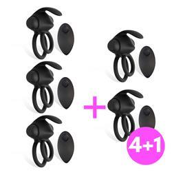 Pack 4+1 Reerin Anillo Vibrador Dual Control Remot