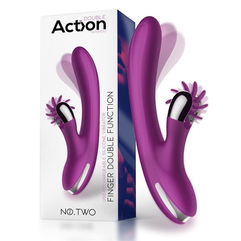 No. Two Vibrador Movimiento Finger y Rueda Estimuladora USB Silicona de ACTION #satisfactoys
