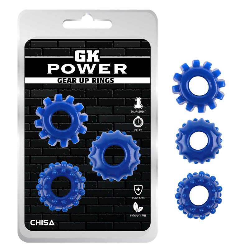 Kit 3 Cock Ring Gear Up Blue