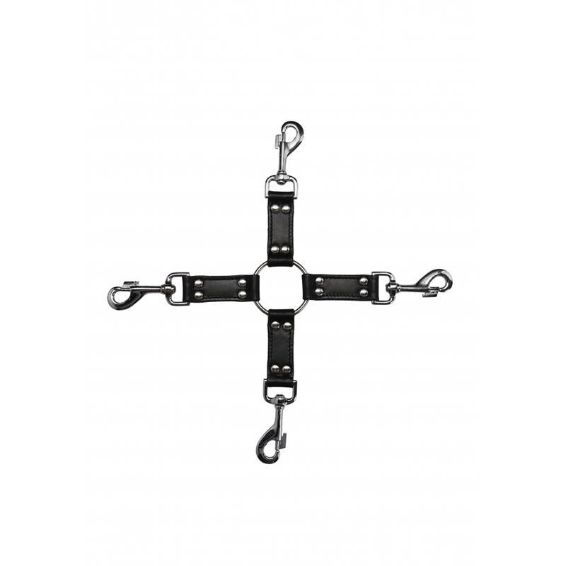 4-way Leather Hogtie Cross Black