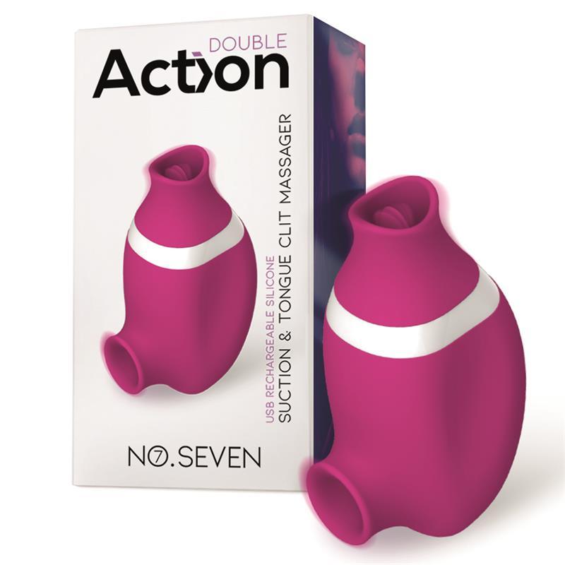 No. Seven 2 in 1 Clitoris Sucker and Tongue Massager USB Silicone