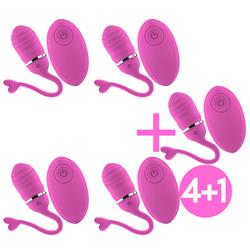 Pack 4+1 Remote Vibrating Egg Odise USB Pink