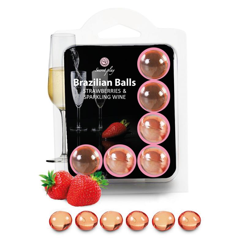 Brazilian Balls Set 6  Strawberries & Sparkling Wine