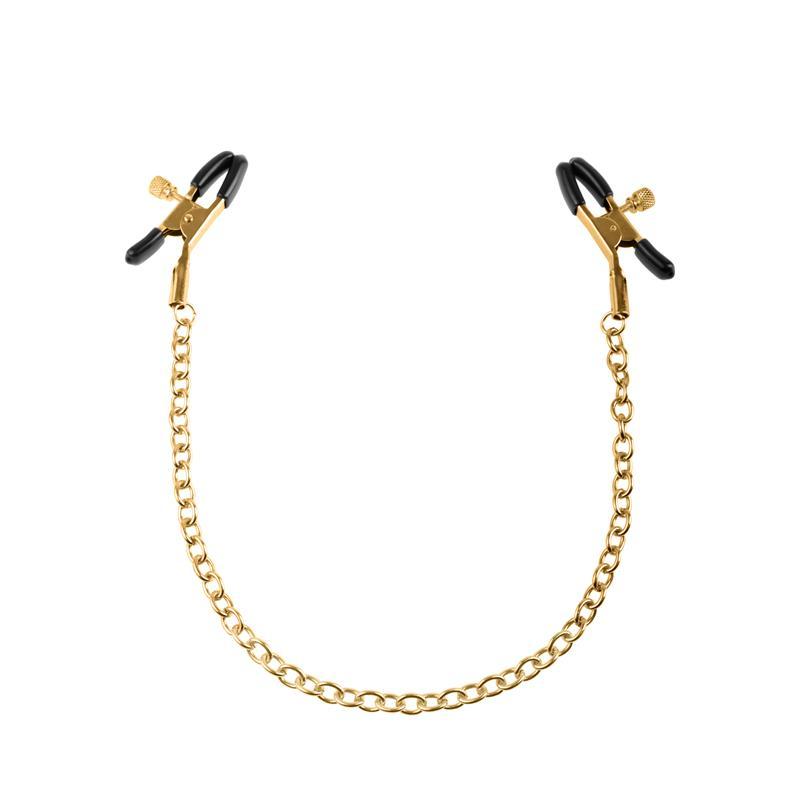 Fetish Fantasy Gold Pinzas para Pezones con Cadena Dorado de FETISH FANTASY GOLD #satisfactoys