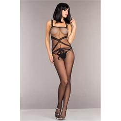 Bodystocking With Ribbon Design And Ruffle Shoulde
