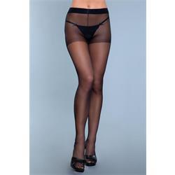 Everyday Wear Crotchless Pantyhose - Black