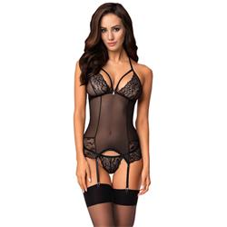 OB Mesh Garter Corset With Lace-S/M