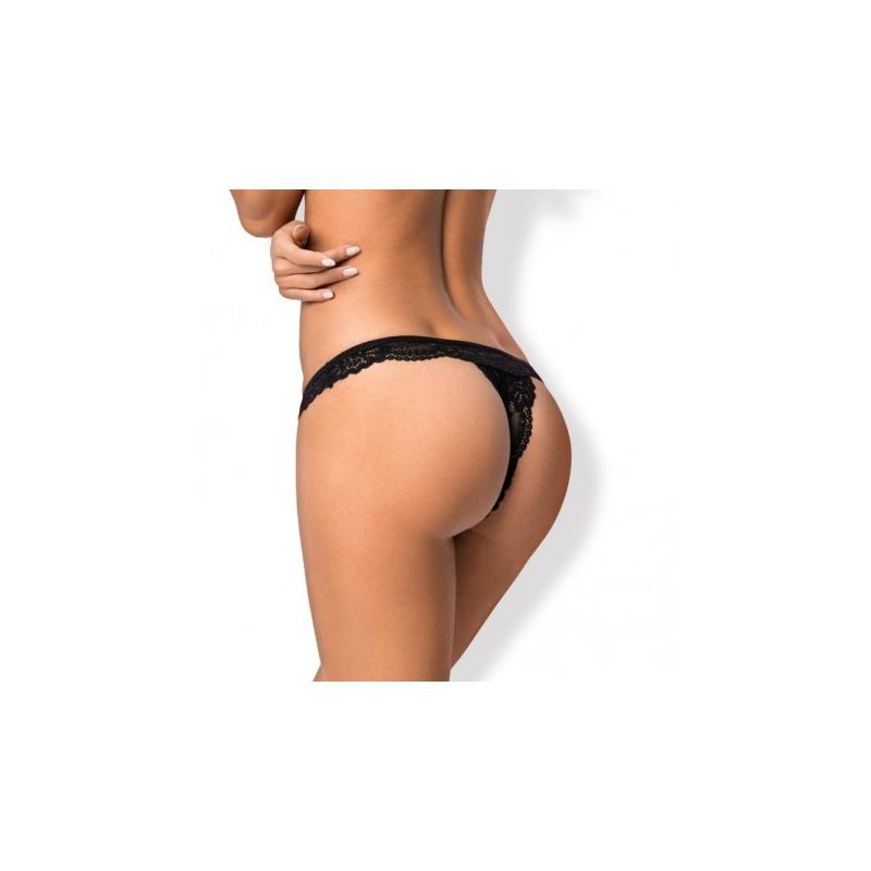 810-THO-1 Lace Thong Black Velikost: S / M