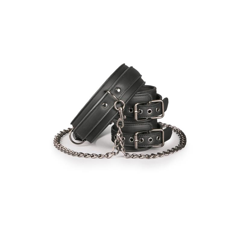 Ligature Set Collar with Handcuffs Black