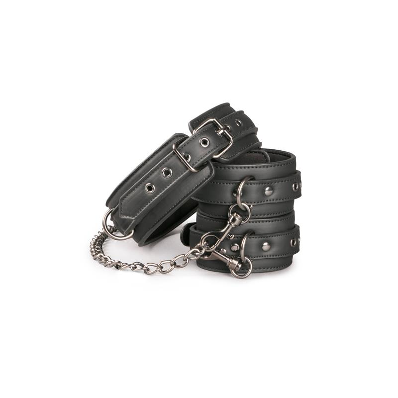 Set Ligaduras Collar y Esposas para Tobillos Negro de EASYTOYS #satisfactoys