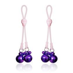 Luminous Skull Nipple Clamps w/Ring Bells Pink/Pur