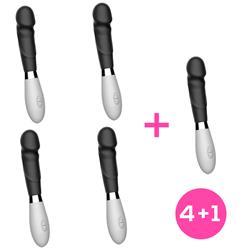 Pack 4+1 Louver Silicone Black Vibrator