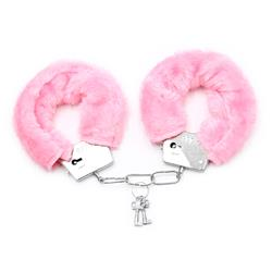 Furry Metal Hand Cuffs Pink with Key