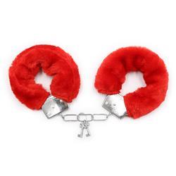 Furry Metal Hand Cuffs Red with Key