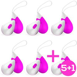 Pack 5+1 Wireless Vibrating Egg Drops Purple