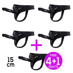 Pack 4+1 Mistress Arnés Elástico con Dildo Silicona 15 cm Negro