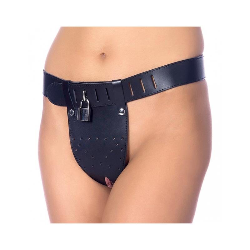 Leather Chastity Briefs with Padlocks