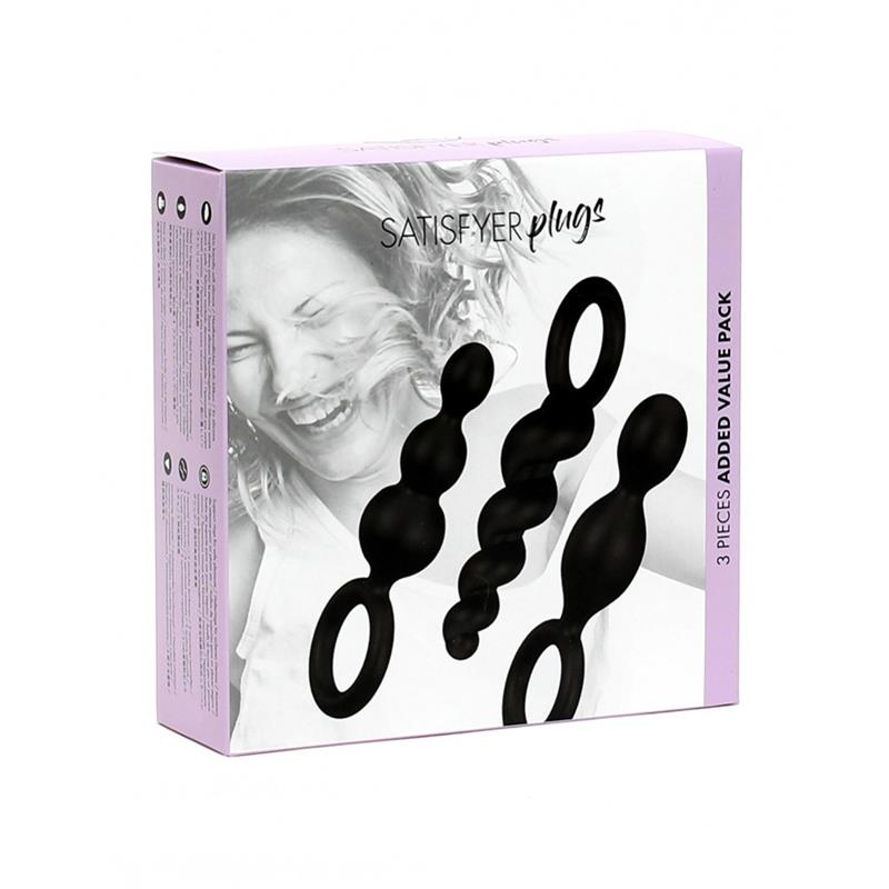 Pack of 3 Plugs Silicone Black