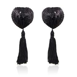 Heart Sequin Nipple Cover with Tassel