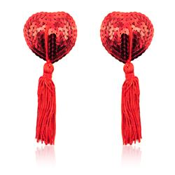 Heart Sequin Nipple Cover with Tassel Red