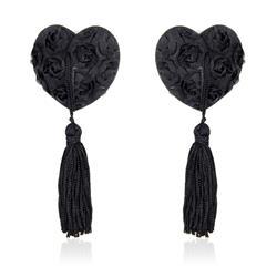 Rose Heart Nipple Covers Black