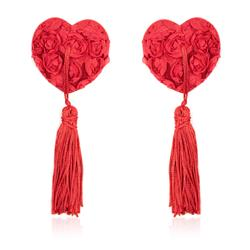 Rose Heart Nipple Covers Red