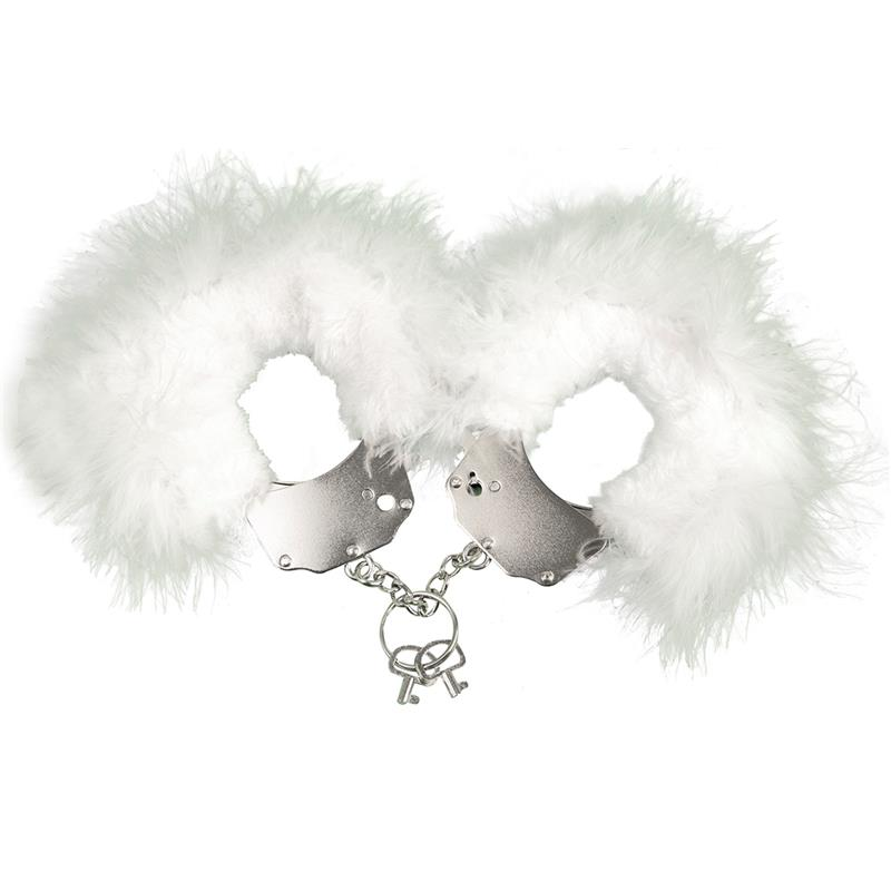 Cuffs Metal and Feathers White