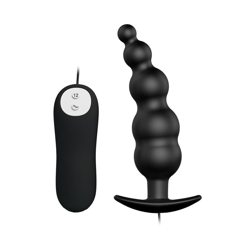 Anal Plug Bubbles Vibrator Black withRemote Control